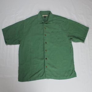 Tommy Bahama Solid Green 100% Silk Shirt. Size L